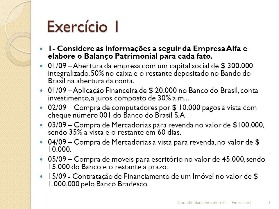 Exercício 1 1- Considere as informações a seguir da Empresa Alfa e elabore o Balanço Patrimonial para cada fato. 01/09 – Abertura da empresa com um ca