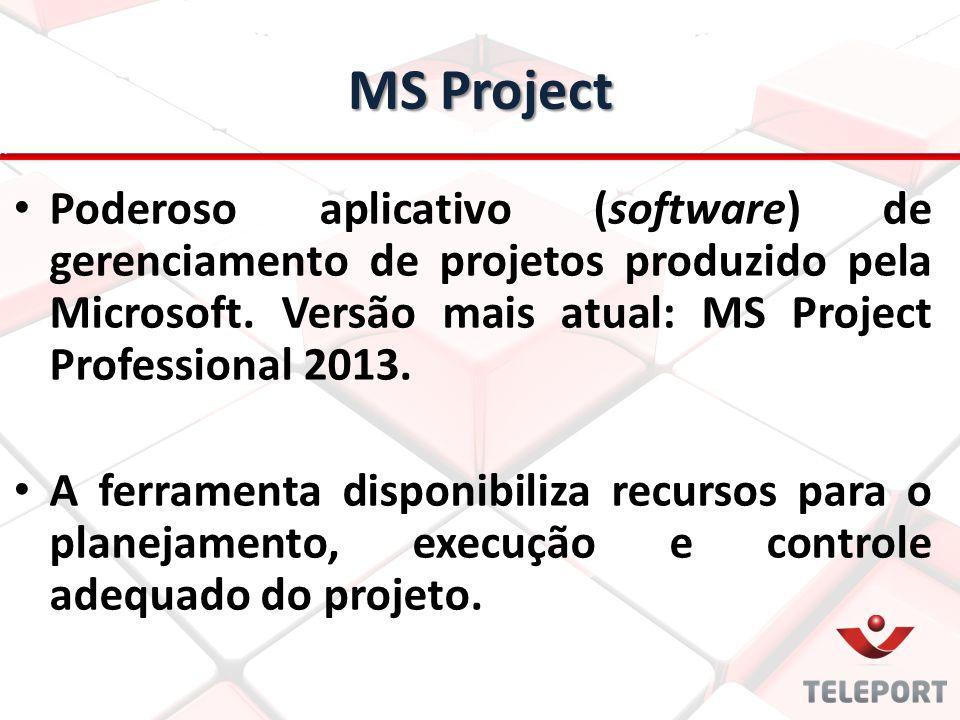 MS Project Poderoso aplicativo (software) de gerenciamento de projetos produzido pela Microsoft. Versão mais atual: MS Project Professional 2013. A fe