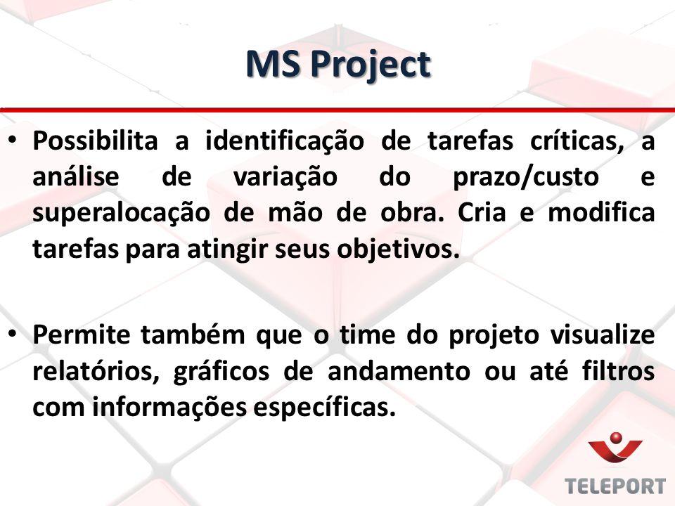 MS Project Possibilita a identificação de tarefas críticas, a análise de variação do prazo/custo e superalocação de mão de obra. Cria e modifica taref