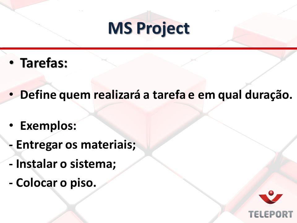 MS Project Tarefas: Tarefas: Define quem realizará a tarefa e em qual duração. Exemplos: - Entregar os materiais; - Instalar o sistema; - Colocar o pi