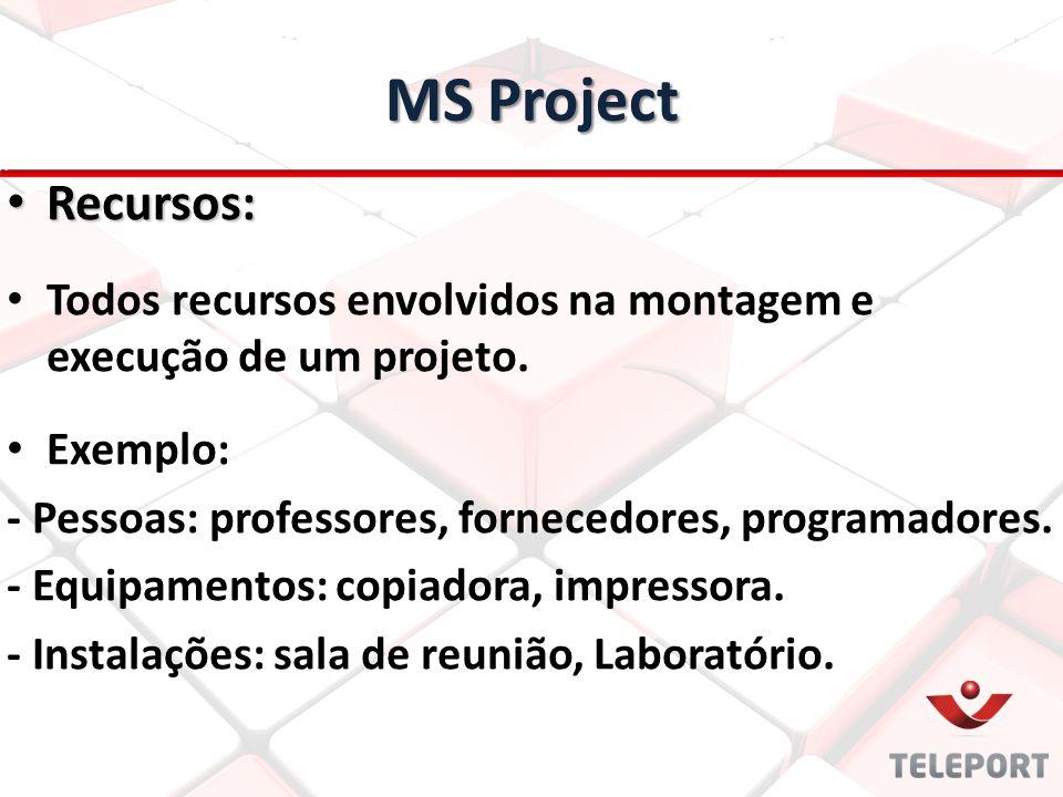 MS Project Recursos: Recursos: Todos recursos envolvidos na montagem e execução de um projeto. Exemplo: - Pessoas: professores, fornecedores, programa