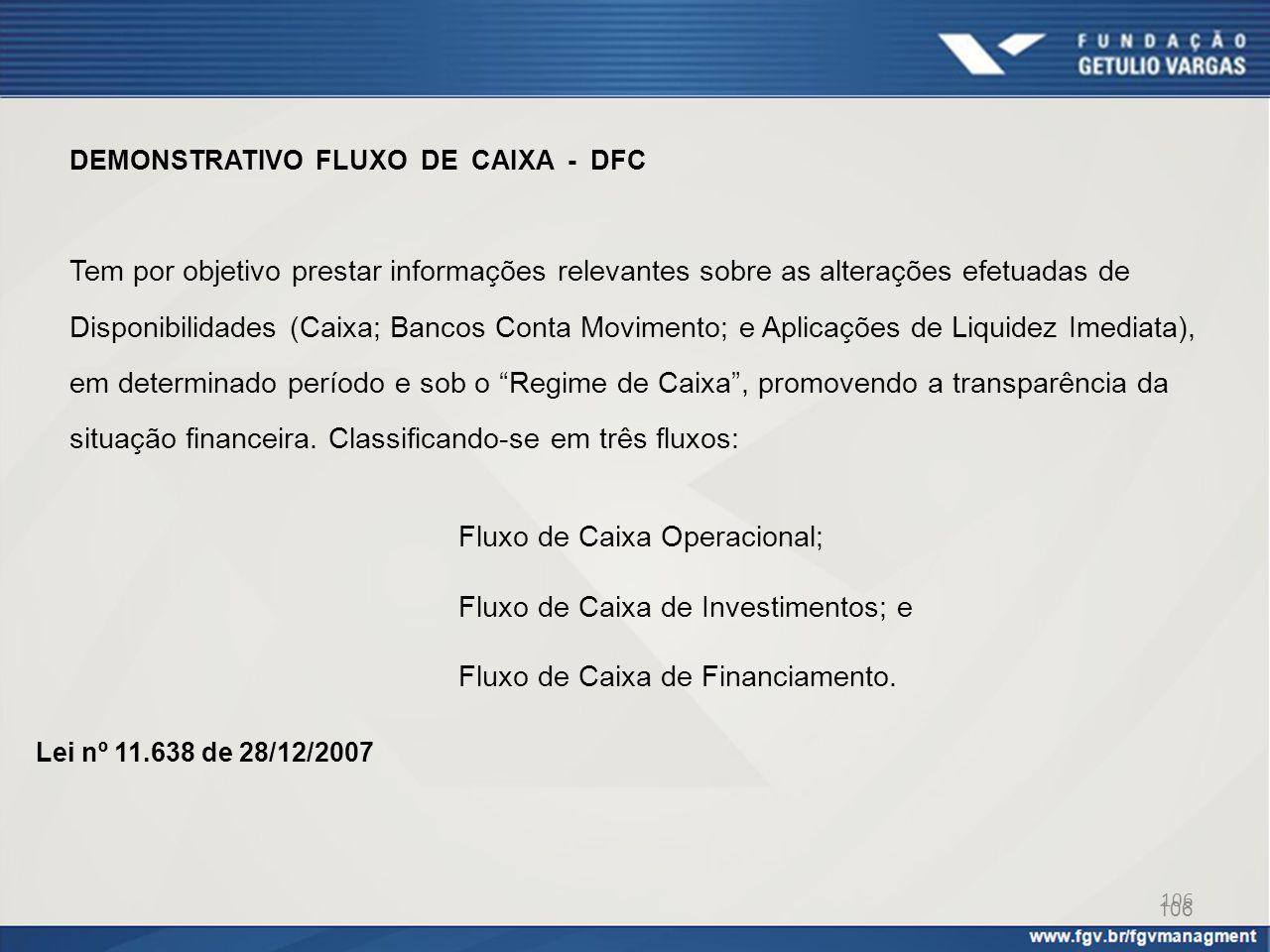 106 DEMONSTRATIVO FLUXO DE CAIXA - DFC Tem por objetivo prestar informações relevantes sobre as alterações efetuadas de Disponibilidades (Caixa; Banco