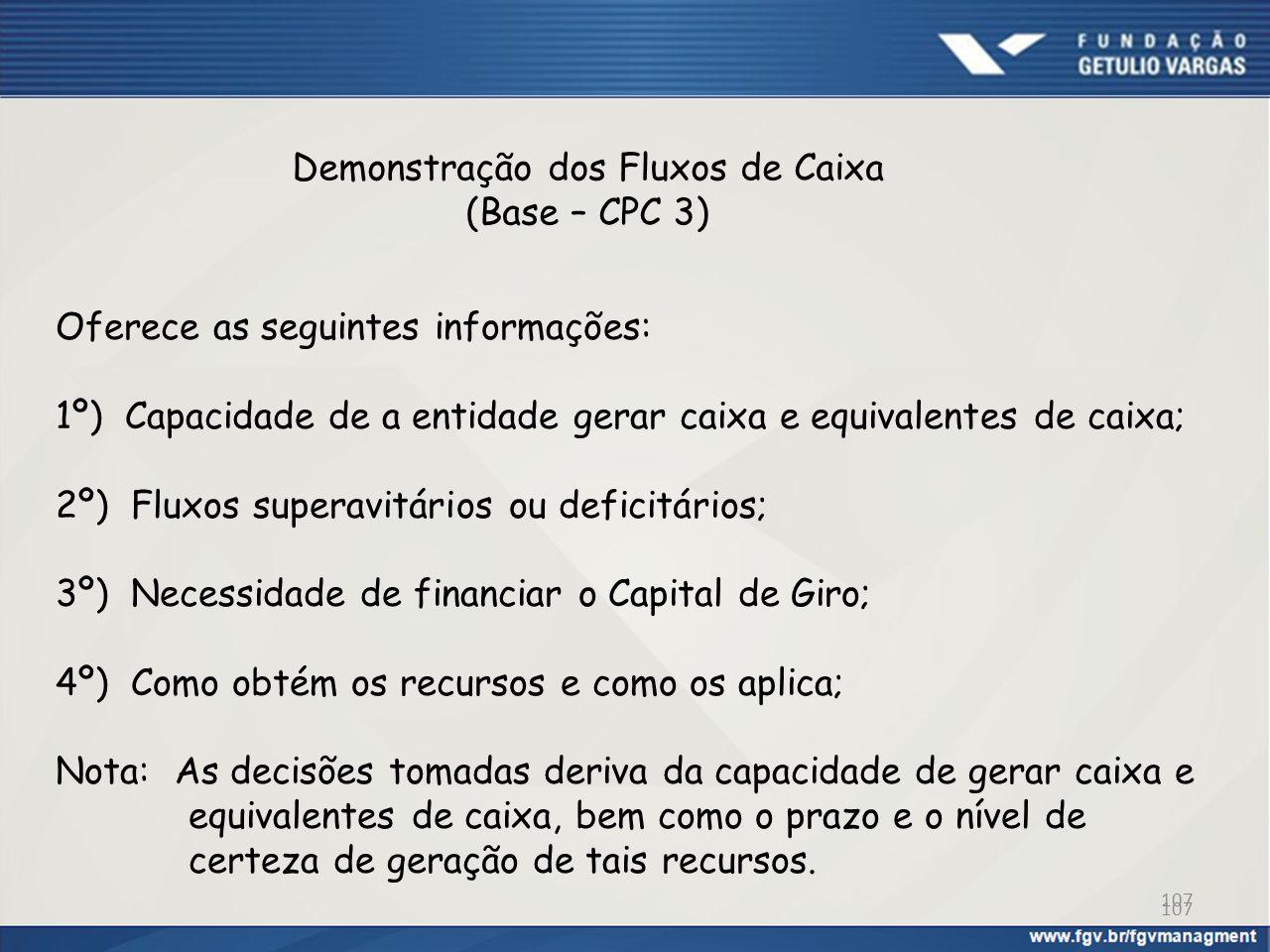 Demonstração dos Fluxos de Caixa (Base – CPC 3) Oferece as seguintes informações: 1º) Capacidade de a entidade gerar caixa e equivalentes de caixa; 2º