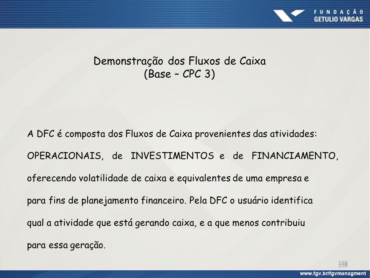 Demonstração dos Fluxos de Caixa (Base – CPC 3) A DFC é composta dos Fluxos de Caixa provenientes das atividades: OPERACIONAIS, de INVESTIMENTOS e de