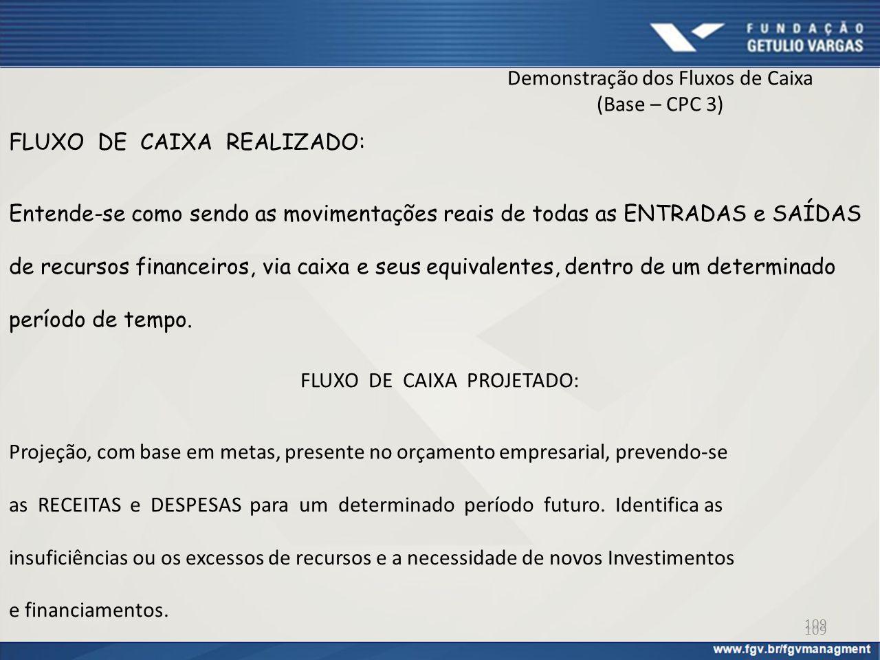 Demonstração dos Fluxos de Caixa (Base – CPC 3) FLUXO DE CAIXA REALIZADO: Entende-se como sendo as movimentações reais de todas as ENTRADAS e SAÍDAS d