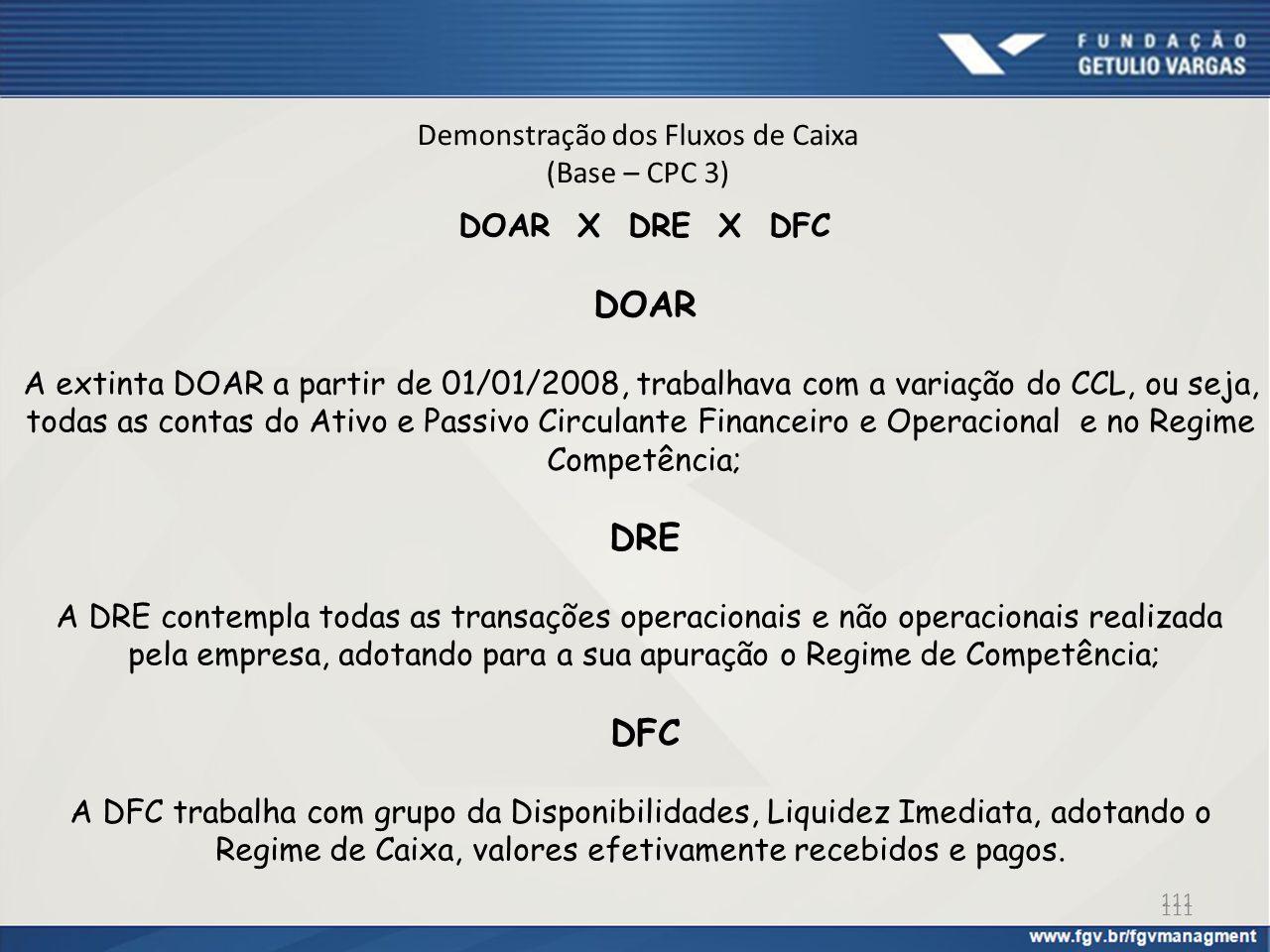 Demonstração dos Fluxos de Caixa (Base – CPC 3) DOAR X DRE X DFC DOAR A extinta DOAR a partir de 01/01/2008, trabalhava com a variação do CCL, ou seja