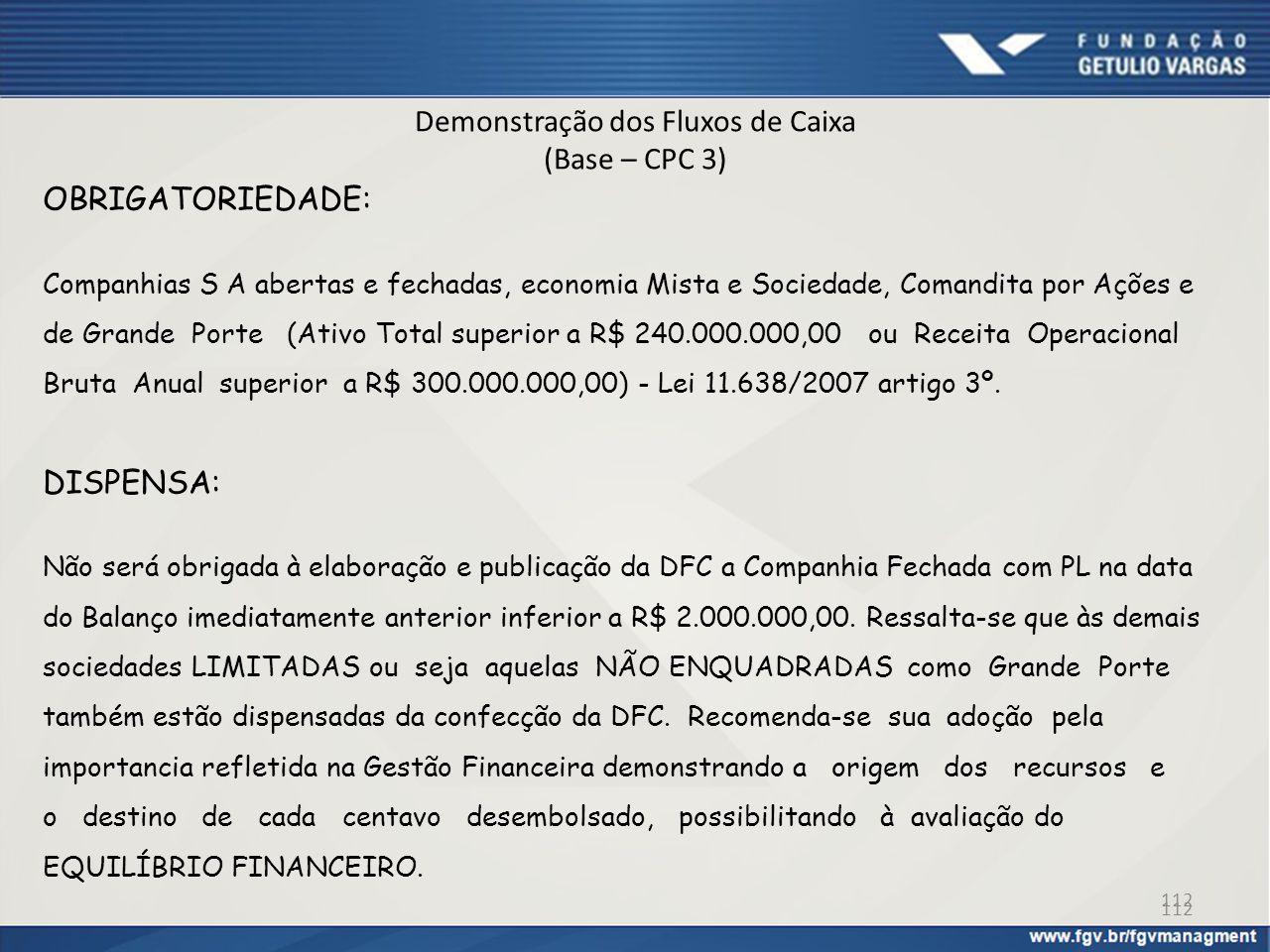 Demonstração dos Fluxos de Caixa (Base – CPC 3) OBRIGATORIEDADE: Companhias S A abertas e fechadas, economia Mista e Sociedade, Comandita por Ações e