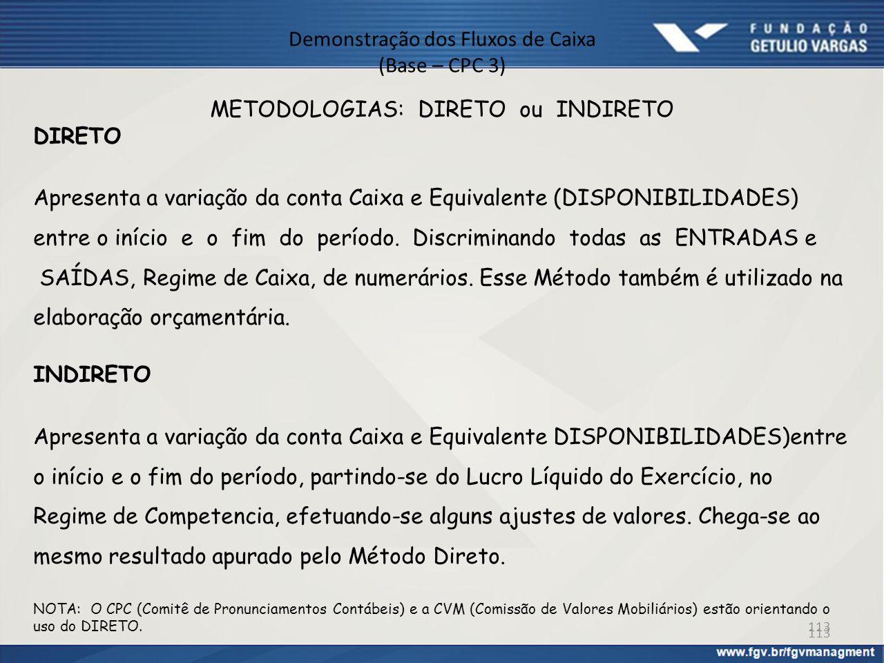 Demonstração dos Fluxos de Caixa (Base – CPC 3) METODOLOGIAS: DIRETO ou INDIRETO DIRETO Apresenta a variação da conta Caixa e Equivalente (DISPONIBILI