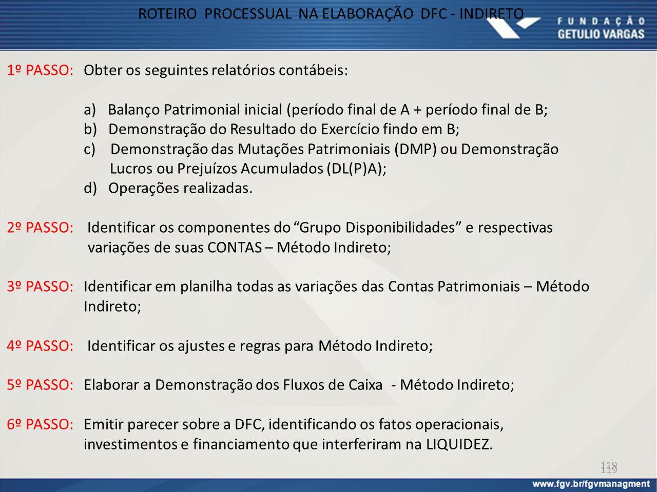 119 1º PASSO: Obter os seguintes relatórios contábeis: a) Balanço Patrimonial inicial (período final de A + período final de B; b) Demonstração do Res