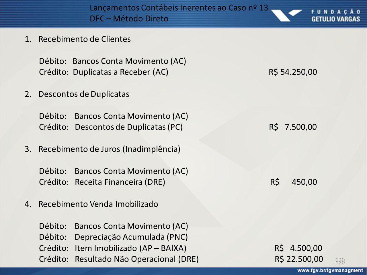 120 Lançamentos Contábeis Inerentes ao Caso nº 13 DFC – Método Direto 1.Recebimento de Clientes Débito: Bancos Conta Movimento (AC) Crédito: Duplicata
