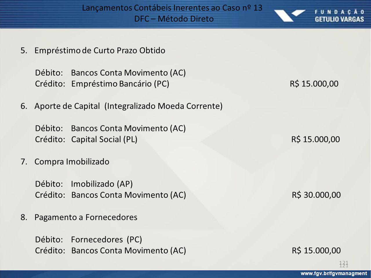 121 Lançamentos Contábeis Inerentes ao Caso nº 13 DFC – Método Direto 5.Empréstimo de Curto Prazo Obtido Débito: Bancos Conta Movimento (AC) Crédito: