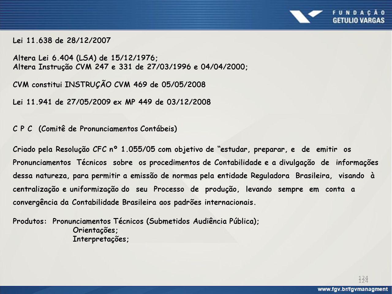 124 Lei 11.638 de 28/12/2007 Altera Lei 6.404 (LSA) de 15/12/1976; Altera Instrução CVM 247 e 331 de 27/03/1996 e 04/04/2000; CVM constitui INSTRUÇÃO