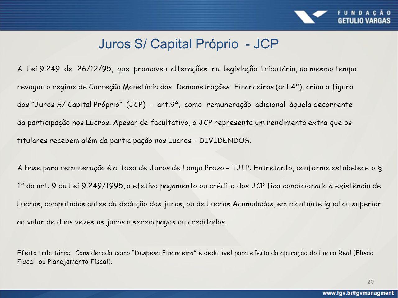 Juros S/ Capital Próprio - JCP A Lei 9.249 de 26/12/95, que promoveu alterações na legislação Tributária, ao mesmo tempo revogou o regime de Correção