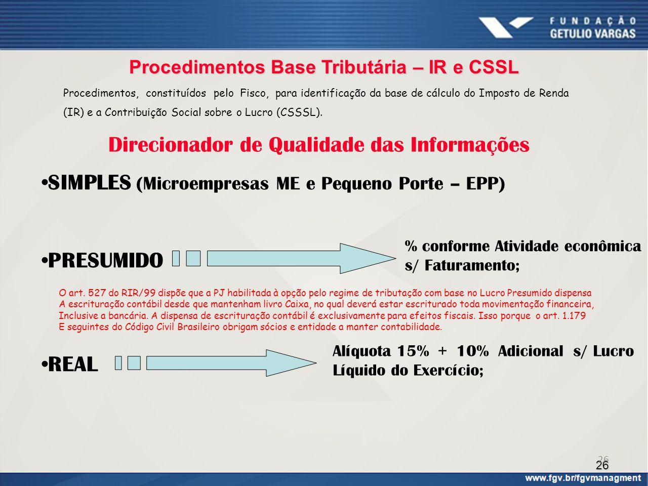 26 Procedimentos Base Tributária – IR e CSSL SIMPLES (Microempresas ME e Pequeno Porte – EPP) PRESUMIDO REAL % conforme Atividade econômica s/ Faturam