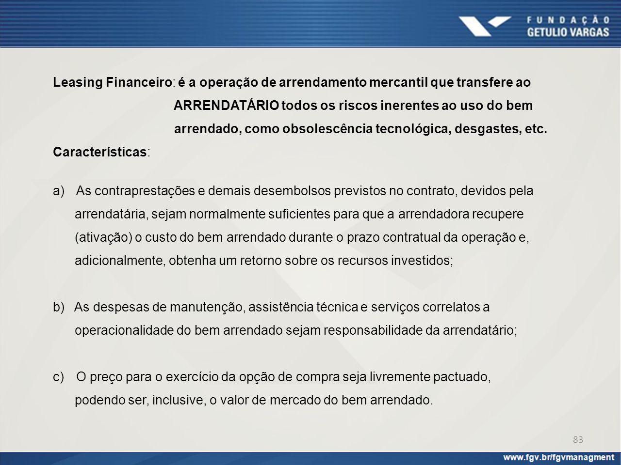 Leasing Financeiro: é a operação de arrendamento mercantil que transfere ao ARRENDATÁRIO todos os riscos inerentes ao uso do bem arrendado, como obsol
