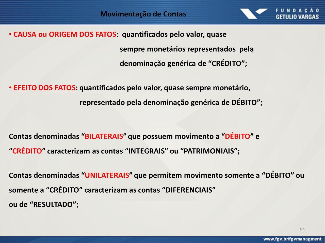 """Movimentação de Contas CAUSA ou ORIGEM DOS FATOS: quantificados pelo valor, quase sempre monetários representados pela denominação genérica de """"CRÉDIT"""