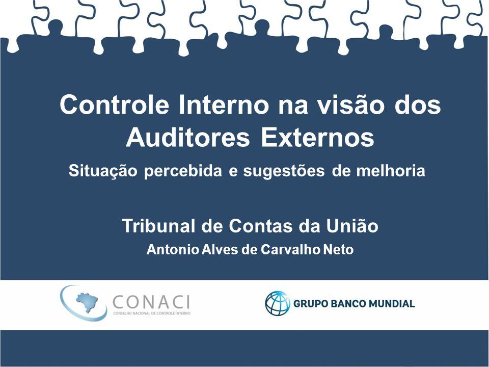Controle Interno na visão dos Auditores Externos Tribunal de Contas da União Antonio Alves de Carvalho Neto Situação percebida e sugestões de melhoria
