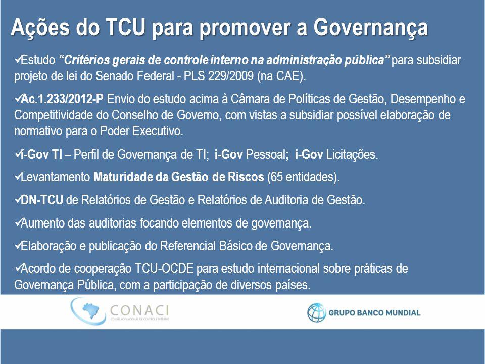 """Ações do TCU para promover a Governança Estudo """"Critérios gerais de controle interno na administração pública"""" para subsidiar projeto de lei do Senado"""