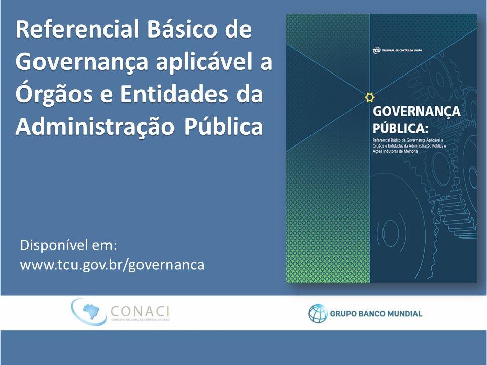 Referencial Básico de Governança aplicável a Órgãos e Entidades da Administração Pública Disponível em: www.tcu.gov.br/governanca