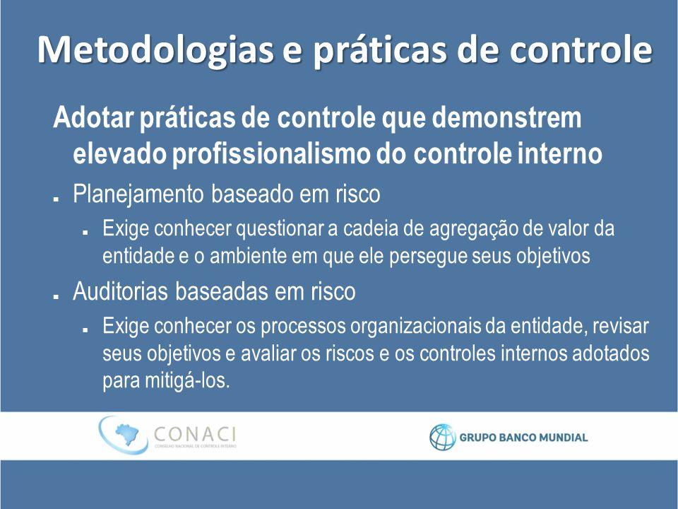 Metodologias e práticas de controle Adotar práticas de controle que demonstrem elevado profissionalismo do controle interno Planejamento baseado em ri