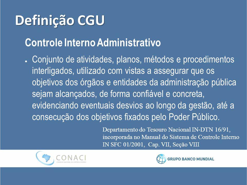 Definição CGU Controle Interno Administrativo Conjunto de atividades, planos, métodos e procedimentos interligados, utilizado com vistas a assegurar q