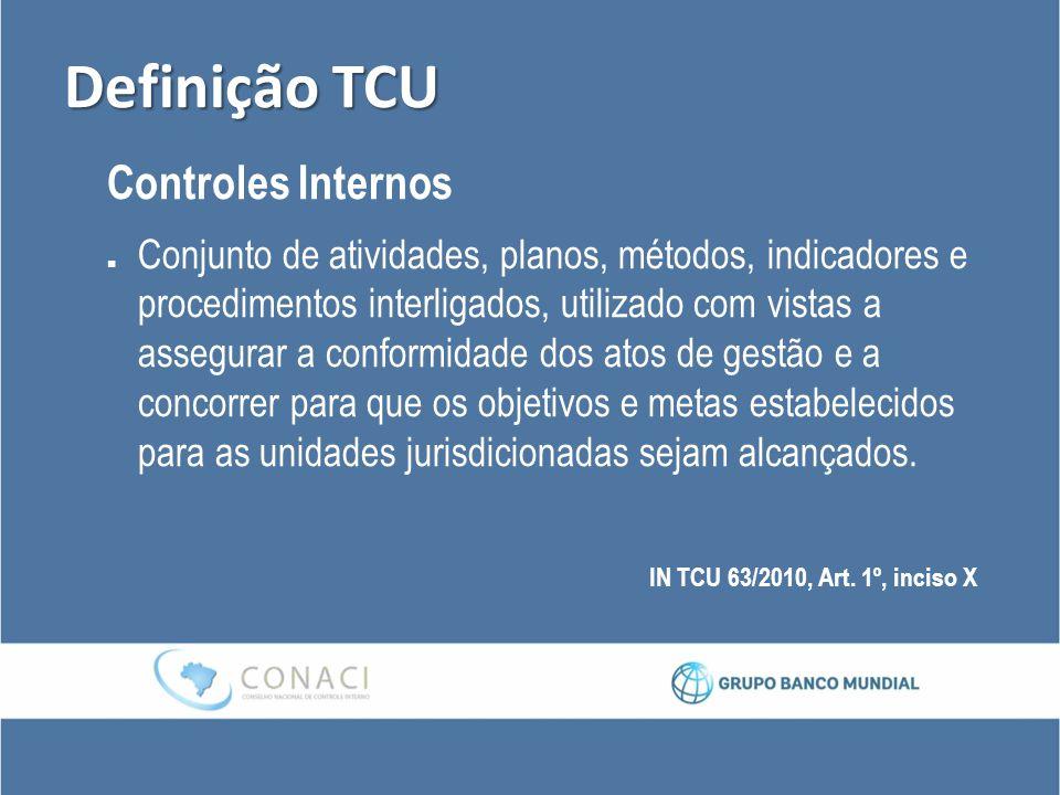 Definição TCU Controles Internos Conjunto de atividades, planos, métodos, indicadores e procedimentos interligados, utilizado com vistas a assegurar a