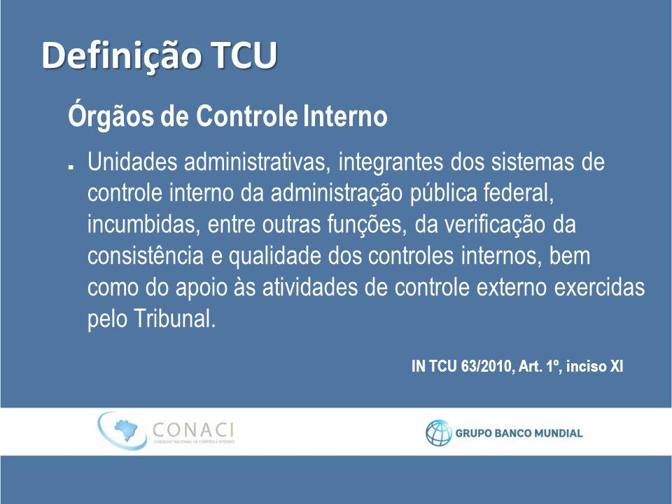 Definição TCU Órgãos de Controle Interno Unidades administrativas, integrantes dos sistemas de controle interno da administração pública federal, incu