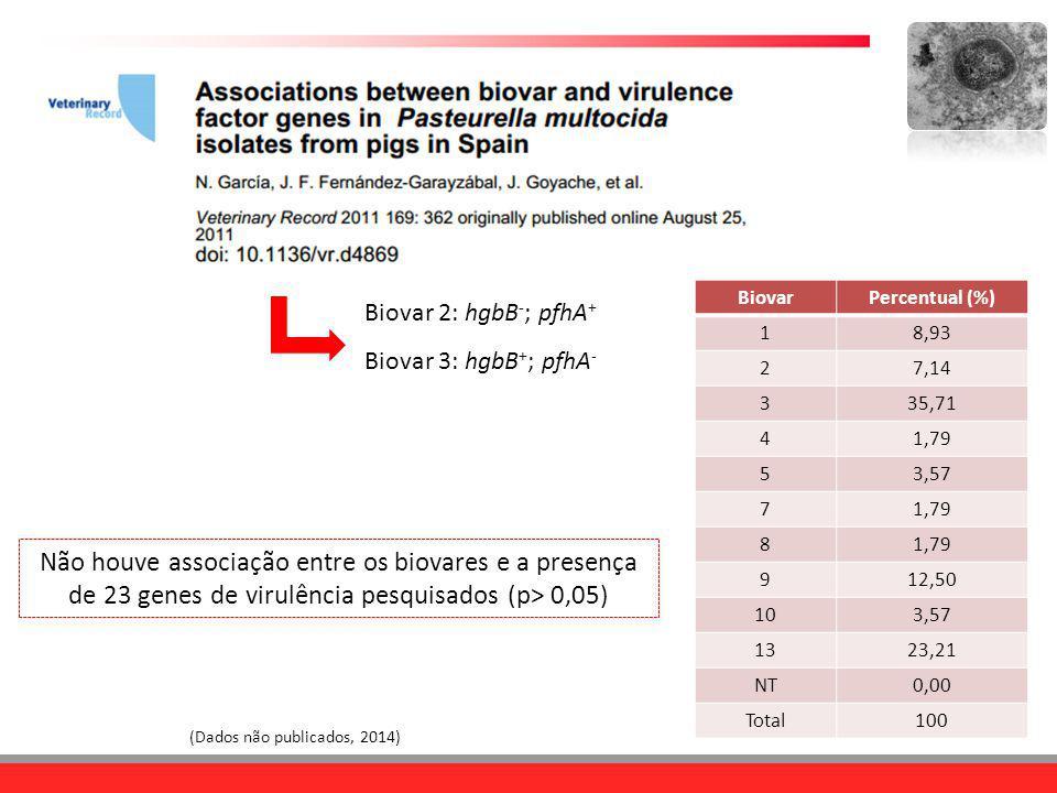 Biovar 2: hgbB - ; pfhA + Biovar 3: hgbB + ; pfhA - (Dados não publicados, 2014) BiovarPercentual (%) 18,93 27,14 335,71 41,79 53,57 71,79 8 912,50 10