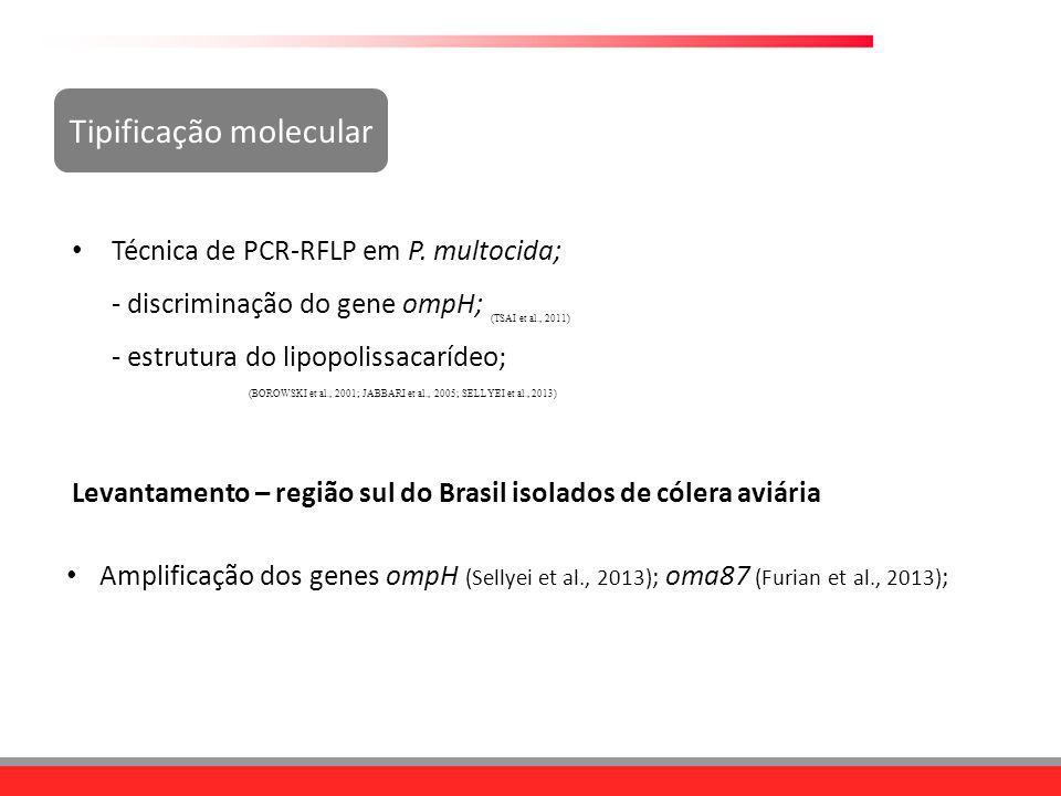 Tipificação molecular Técnica de PCR-RFLP em P. multocida; - discriminação do gene ompH; - estrutura do lipopolissacarídeo; (BOROWSKI et al., 2001; JA
