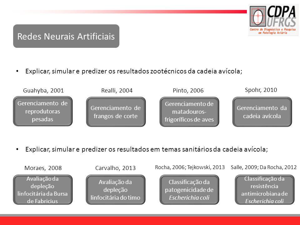 Redes Neurais Artificiais Explicar, simular e predizer os resultados zootécnicos da cadeia avícola; Gerenciamento de reprodutoras pesadas Gerenciament