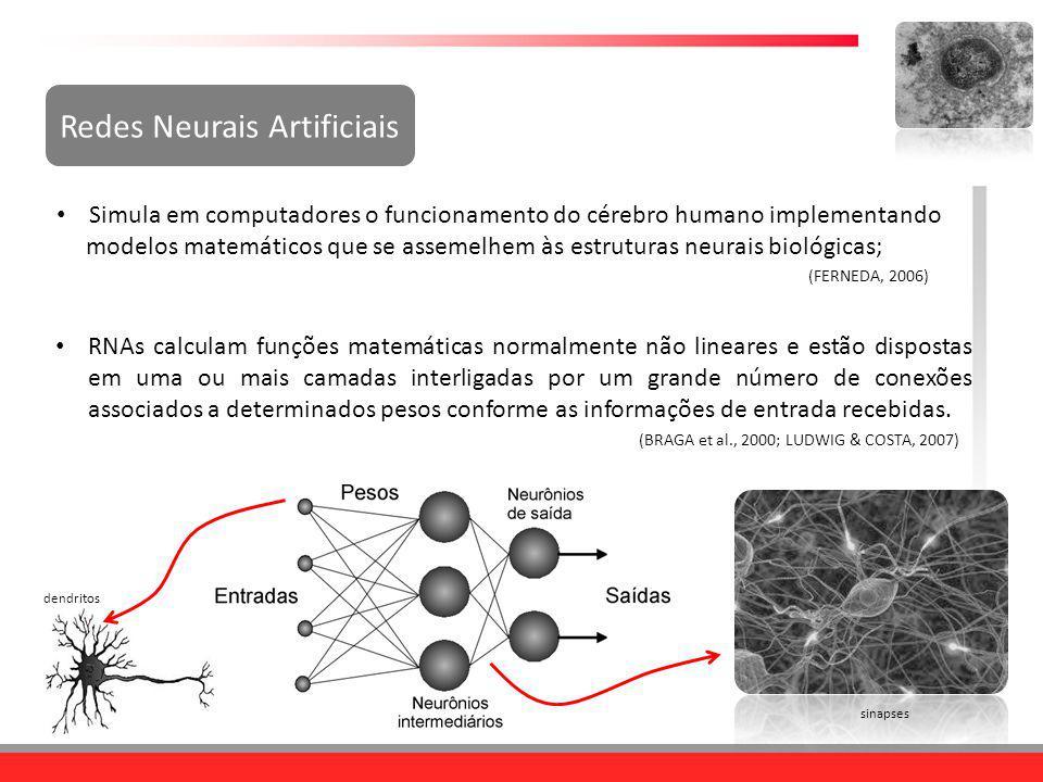 Redes Neurais Artificiais Simula em computadores o funcionamento do cérebro humano implementando modelos matemáticos que se assemelhem às estruturas n
