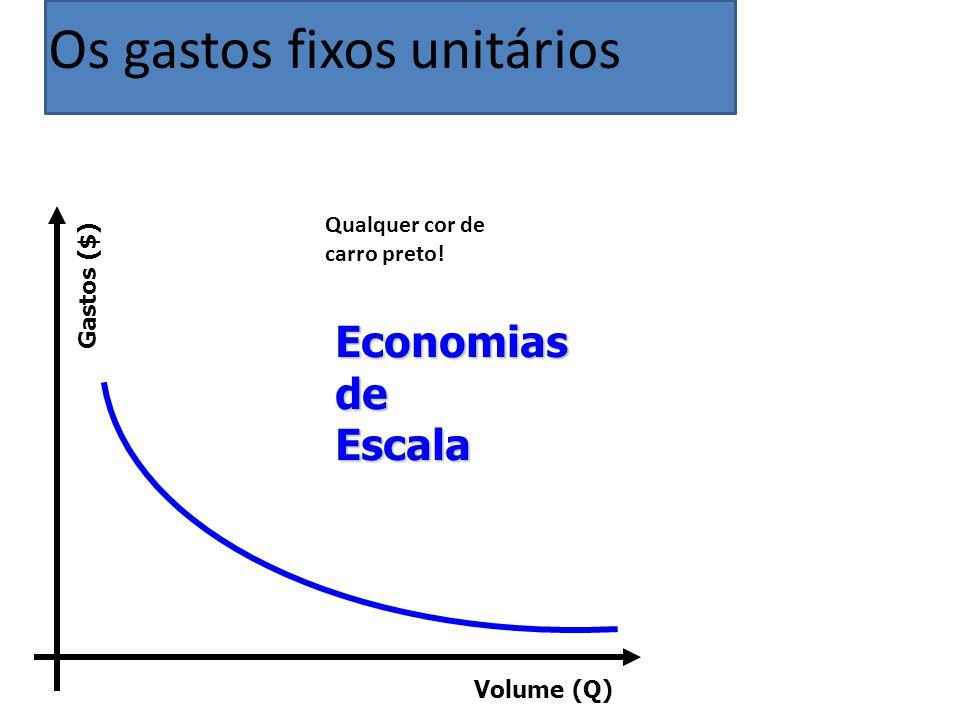 Volume (Q) Gastos ($) Qualquer cor de carro preto! Economias de Escala Os gastos fixos unitários