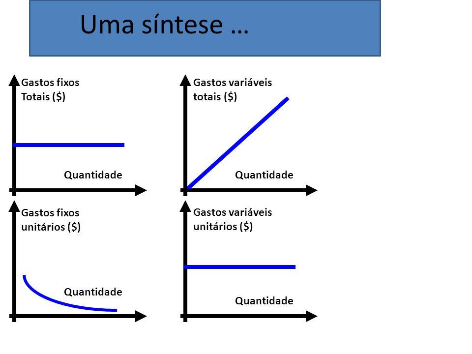 Quantidade Gastos fixos Totais ($) Quantidade Gastos variáveis totais ($) Quantidade Gastos variáveis unitários ($) Quantidade Gastos fixos unitários