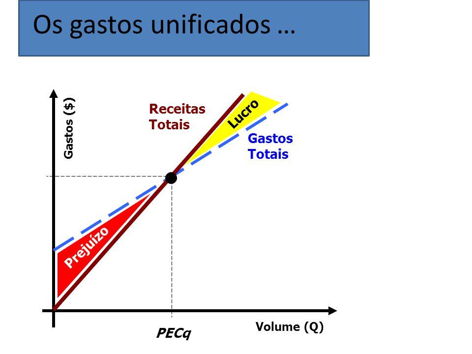 Volume (Q) Gastos ($) Gastos Totais Receitas Totais PECq Lucro Prejuízo Os gastos unificados …