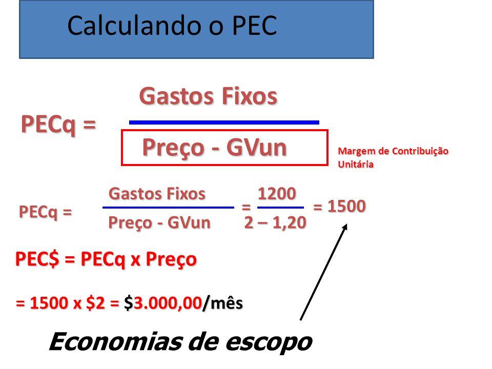 PECq = Gastos Fixos Preço - GVun PECq = Gastos Fixos Preço - GVun = 1200 2 – 1,20 = 1500 PEC$ = PECq x Preço = 1500 x $2 = $3.000,00/mês Margem de Contribuição Unitária Economias de escopo Calculando o PEC