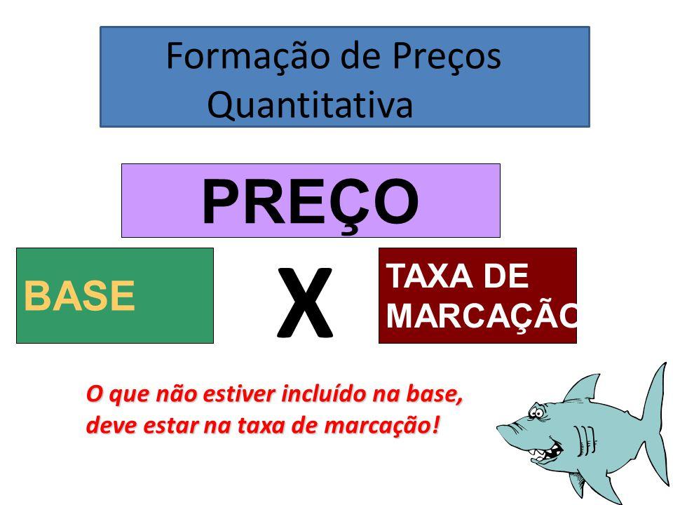 Formação de Preços Quantitativa PREÇO BASE X TAXA DE MARCAÇÃO O que não estiver incluído na base, deve estar na taxa de marcação!