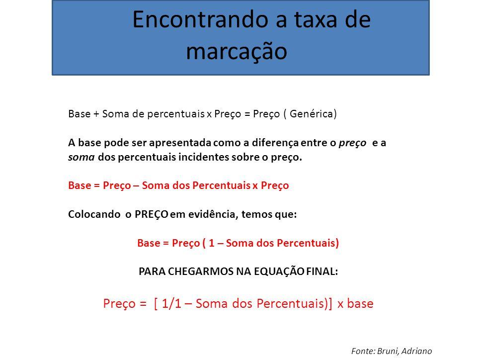 Encontrando a taxa de marcação Fonte: Bruni, Adriano Base + Soma de percentuais x Preço = Preço ( Genérica) A base pode ser apresentada como a diferença entre o preço e a soma dos percentuais incidentes sobre o preço.