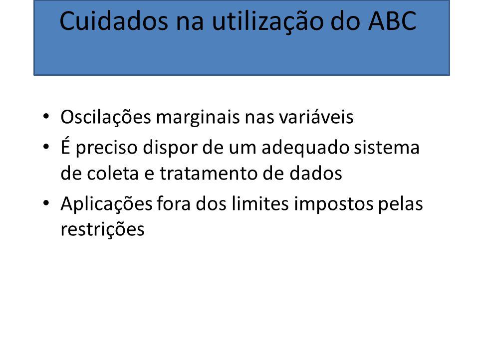 Cuidados na utilização do ABC Oscilações marginais nas variáveis É preciso dispor de um adequado sistema de coleta e tratamento de dados Aplicações fo