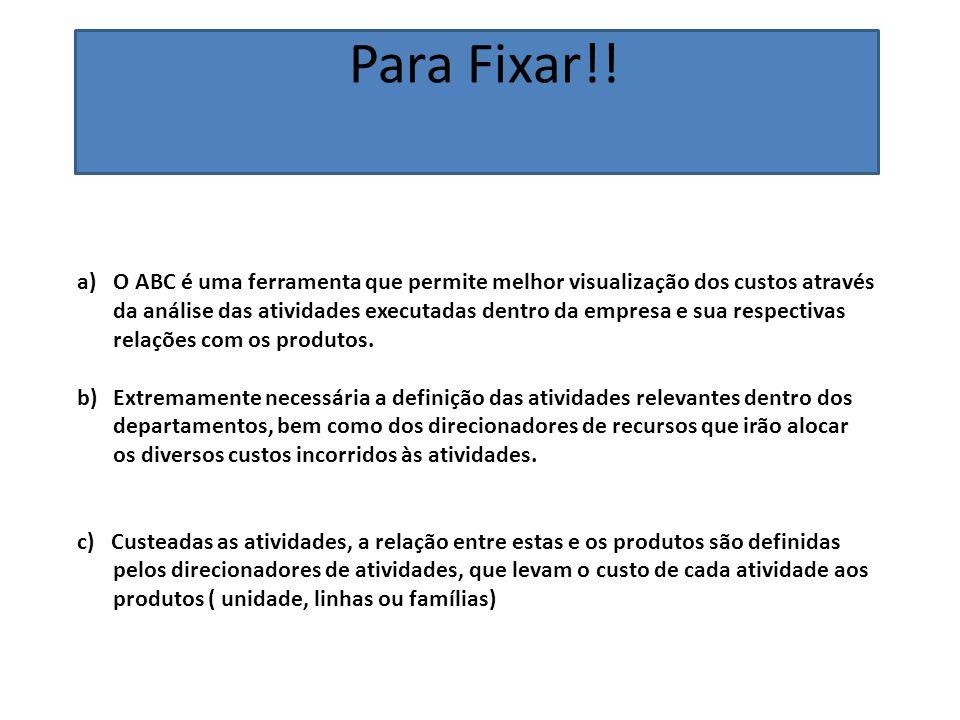 Para Fixar!! a)O ABC é uma ferramenta que permite melhor visualização dos custos através da análise das atividades executadas dentro da empresa e sua