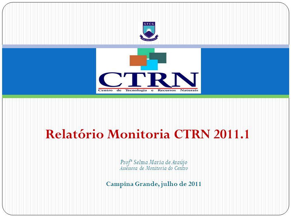 Profª Selma Maria de Araújo Assessora de Monitoria do Centro Campina Grande, julho de 2011 Relatório Monitoria CTRN 2011.1