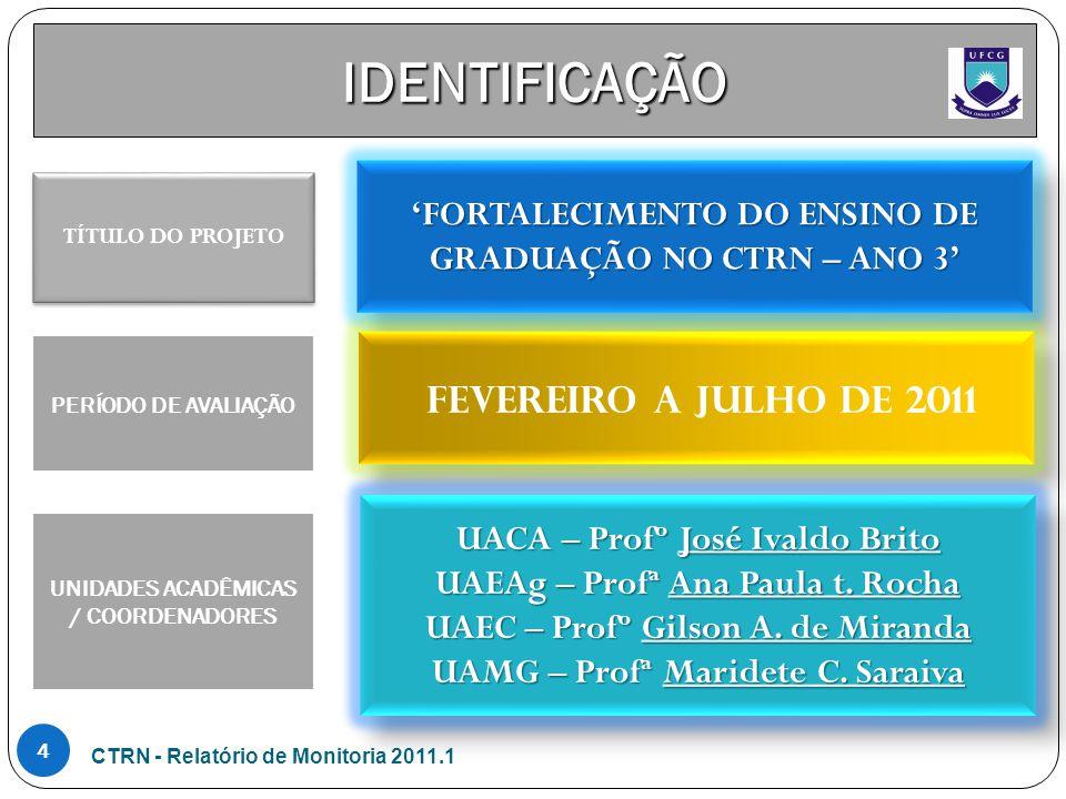 IDENTIFICAÇÃO 'FORTALECIMENTO DO ENSINO DE GRADUAÇÃO NO CTRN – ANO 3' Fevereiro a julho de 2011 UACA – Profº José Ivaldo Brito UAEAg – Profª Ana Paula t.