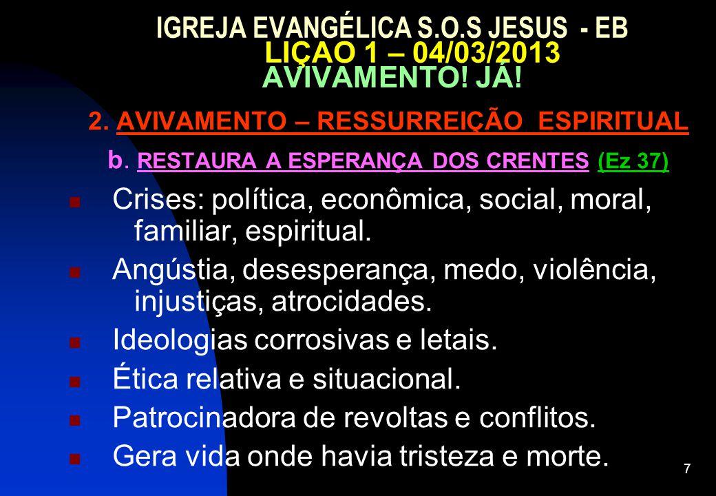 7 IGREJA EVANGÉLICA S.O.S JESUS - EB LIÇAO 1 – 04/03/2013 AVIVAMENTO! JÁ! 2. AVIVAMENTO – RESSURREIÇÃO ESPIRITUAL b. RESTAURA A ESPERANÇA DOS CRENTES
