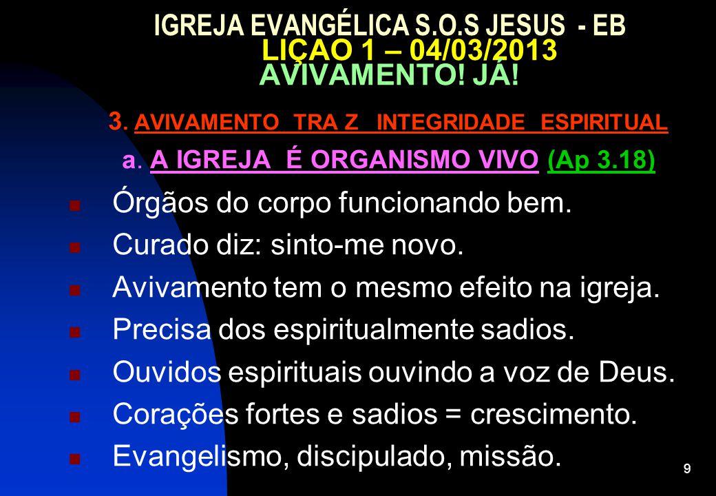 9 IGREJA EVANGÉLICA S.O.S JESUS - EB LIÇAO 1 – 04/03/2013 AVIVAMENTO.