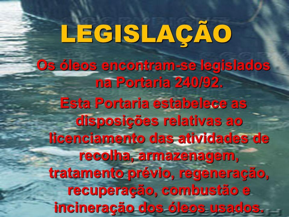 LEGISLAÇÃO Os óleos encontram-se legislados na Portaria 240/92.