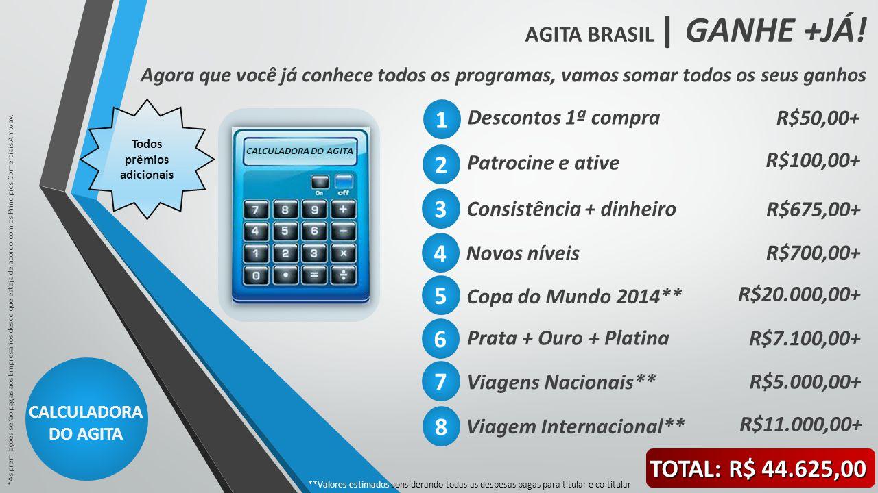 AGITA BRASIL | GANHE +JÁ! CALCULADORA DO AGITA *As premiações serão pagas aos Empresários desde que esteja de acordo com os Princípios Comerciais Amwa