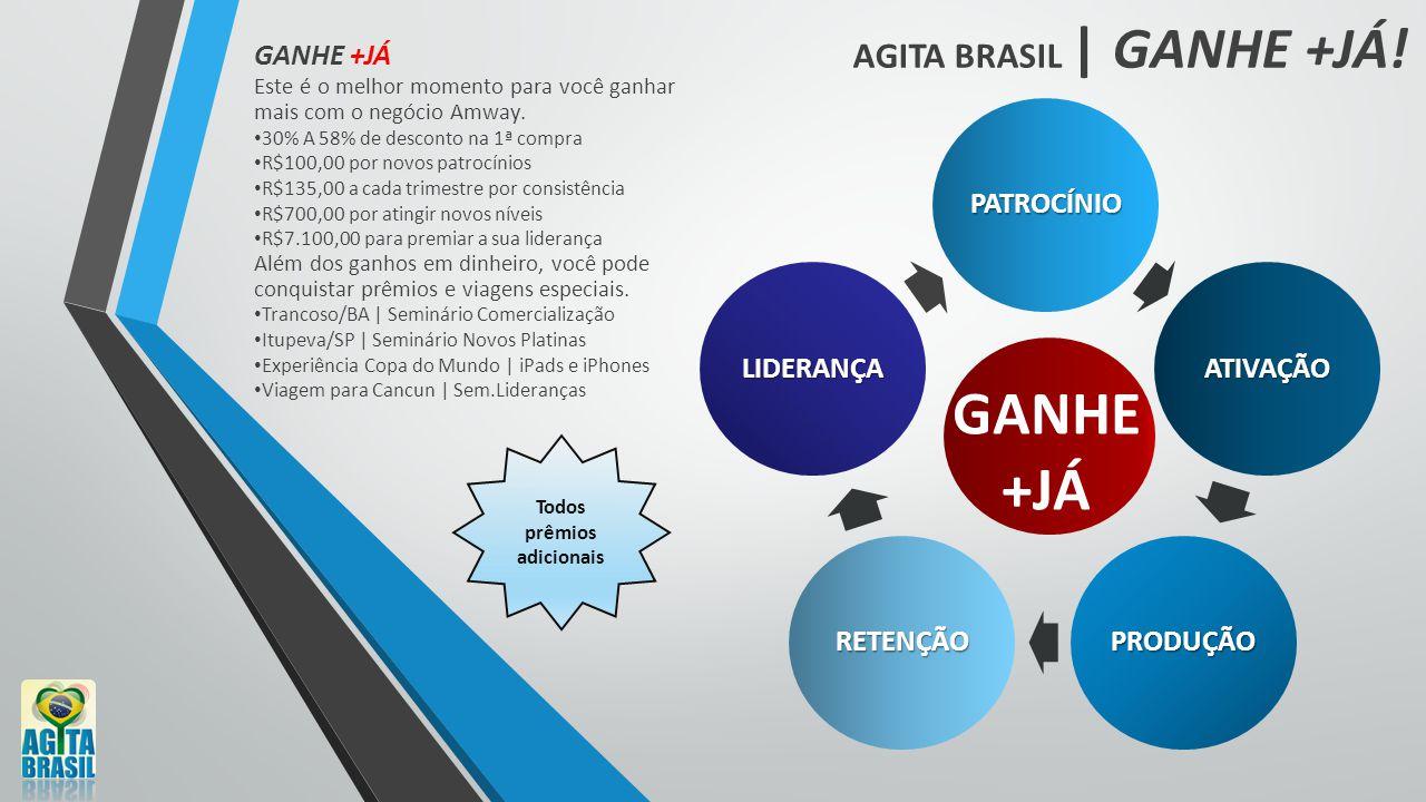 AGITA BRASIL | GANHE +JÁ! PATROCÍNIO ATIVAÇÃO PRODUÇÃO RETENÇÃO LIDERANÇA GANHE +JÁ Este é o melhor momento para você ganhar mais com o negócio Amway.