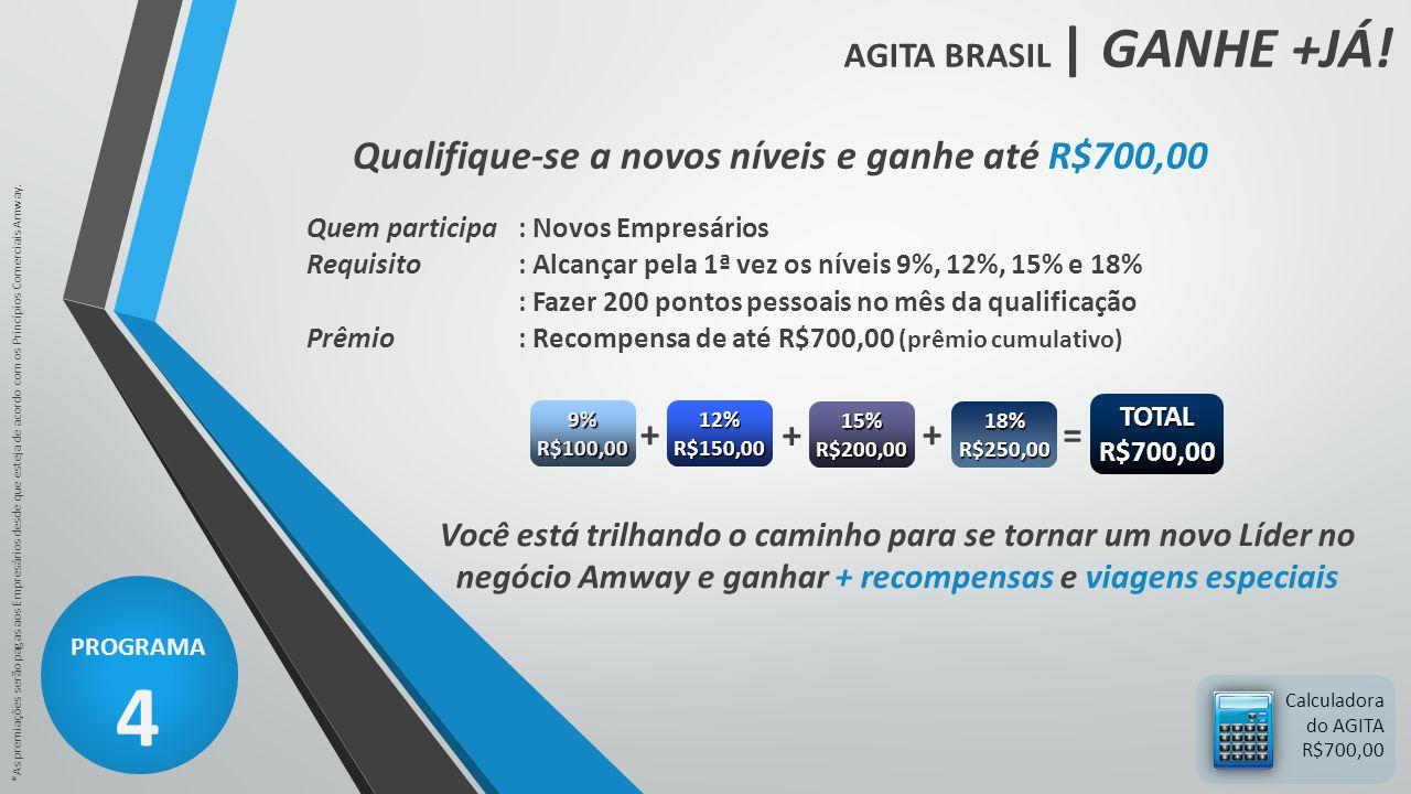 AGITA BRASIL | GANHE +JÁ! PROGRAMA 4 *As premiações serão pagas aos Empresários desde que esteja de acordo com os Princípios Comerciais Amway. Calcula