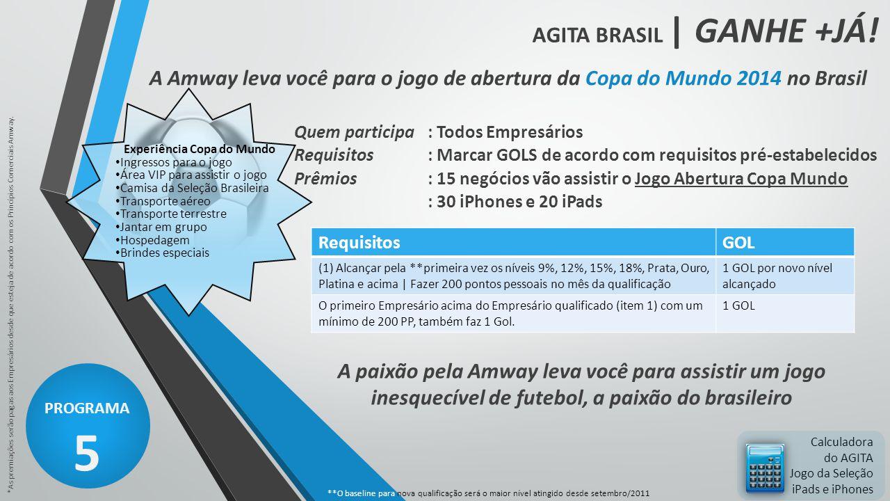 AGITA BRASIL | GANHE +JÁ! PROGRAMA 5 *As premiações serão pagas aos Empresários desde que esteja de acordo com os Princípios Comerciais Amway. Calcula