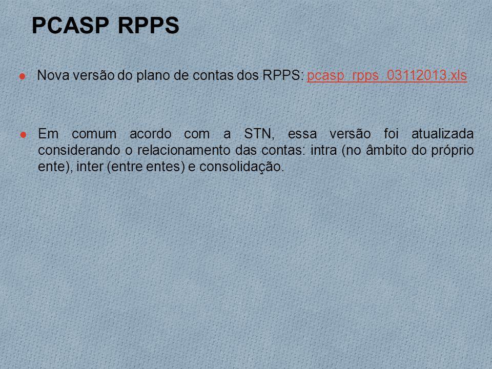 PCASP RPPS Nova versão do plano de contas dos RPPS: pcasp_rpps_03112013.xlspcasp_rpps_03112013.xls Em comum acordo com a STN, essa versão foi atualizada considerando o relacionamento das contas: intra (no âmbito do próprio ente), inter (entre entes) e consolidação.