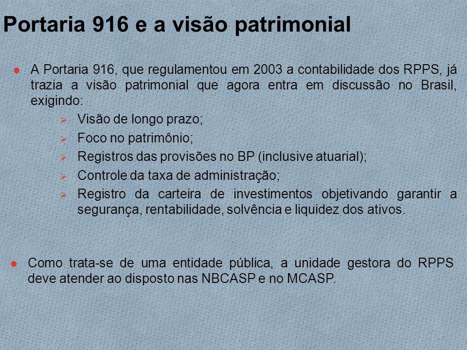 Portaria 916 e a visão patrimonial A Portaria 916, que regulamentou em 2003 a contabilidade dos RPPS, já trazia a visão patrimonial que agora entra em discussão no Brasil, exigindo:  Visão de longo prazo;  Foco no patrimônio;  Registros das provisões no BP (inclusive atuarial);  Controle da taxa de administração;  Registro da carteira de investimentos objetivando garantir a segurança, rentabilidade, solvência e liquidez dos ativos.